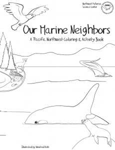 """Our Marine Neighbors,"" an educational coloring and activity book."