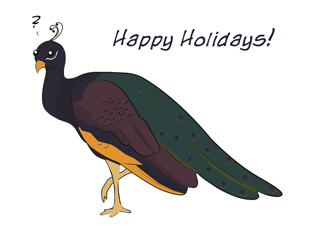 Happy Holidays Peacock